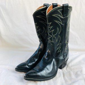 Vintage Nocona Black Leather Cowboy Western Boots